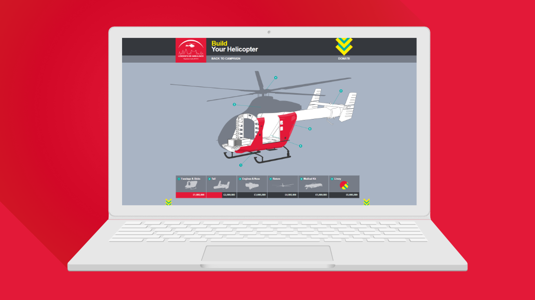 London's Air Ambulance Helicopter on laptop