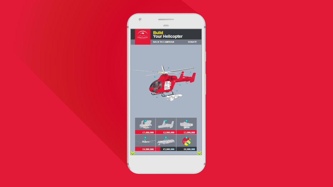 London's Air Ambulance web page on mobile device